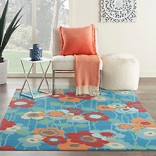 Nourison Waverly Sun N' Shade Blue 5'x8' Area Rug, Bluebell, rollover