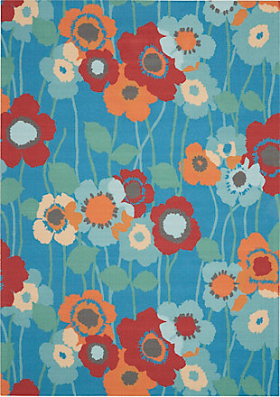 Nourison Waverly Sun N' Shade Blue 5'x8' Area Rug, Bluebell, large