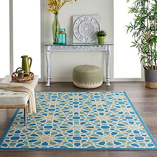 Nourison Waverly Sun N' Shade Blue 4'x6' Area Rug, Porcelain, rollover