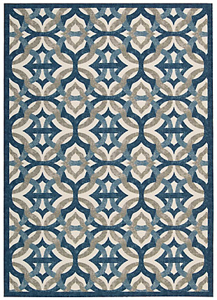 Nourison Waverly Sun N' Shade Blue 5'x8' Area Rug, Celestial, large