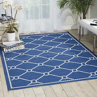 Nourison Waverly Sun N' Shade Dark Blue 5'x8' Area Rug, Navy, rollover