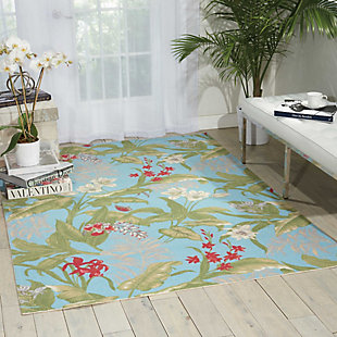 Nourison Waverly Sun N' Shade Blue 5'x8' Area Rug, Aqua, rollover