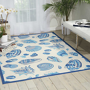 Nourison Waverly Sun N' Shade White and Blue 5'x8' Area Rug, Ivory, rollover
