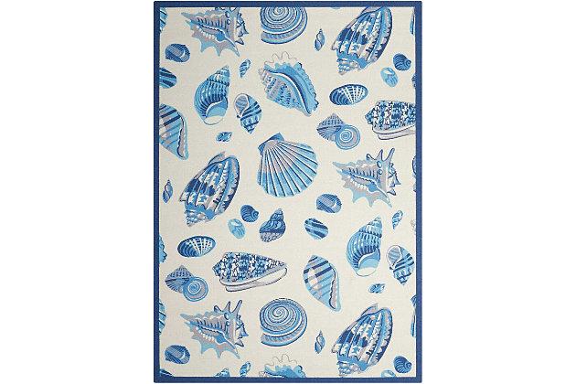 Nourison Waverly Sun N' Shade White And Blue 5'x8' Area Rug, Ivory, large