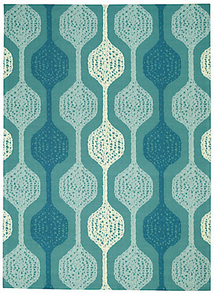 Nourison Waverly Sun N' Shade Blue 5'x8' Contemporary Area Rug, Aqua, large
