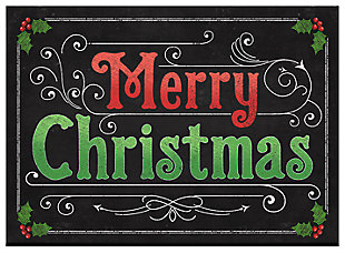 "Home Accents 1'10"" x 2'7"" Blackboard Christmas Doormat, , large"