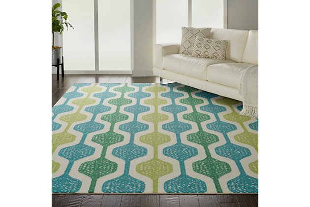 Nourison Waverly Sun N' Shade Blue And Green 8'x11' Oversized Indoor-outdoor Rug, Ivory/Aqua, large