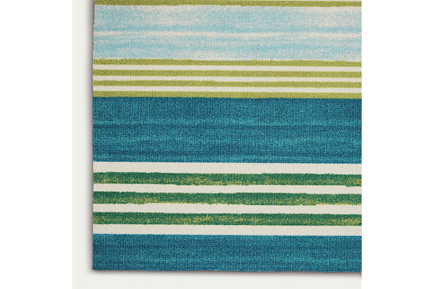 Nourison Waverly Sun N' Shade Blue And Green 8'x11' Oversized Indoor-outdoor Rug, Green/Teal, large