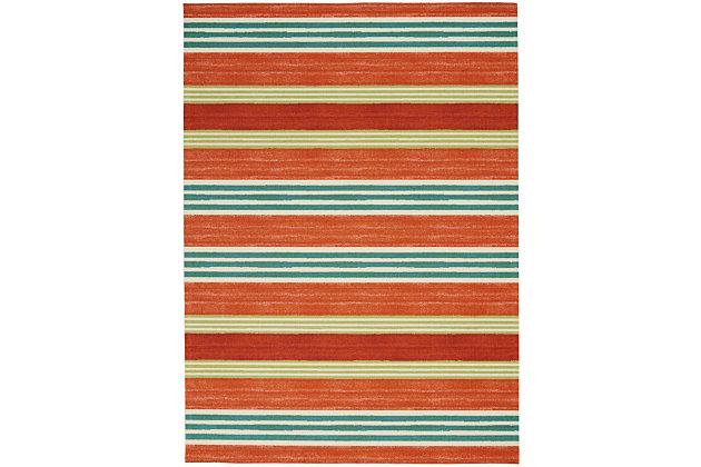 Nourison Waverly Sun N' Shade Red 5'x8' Striped Area Rug, Orange, large