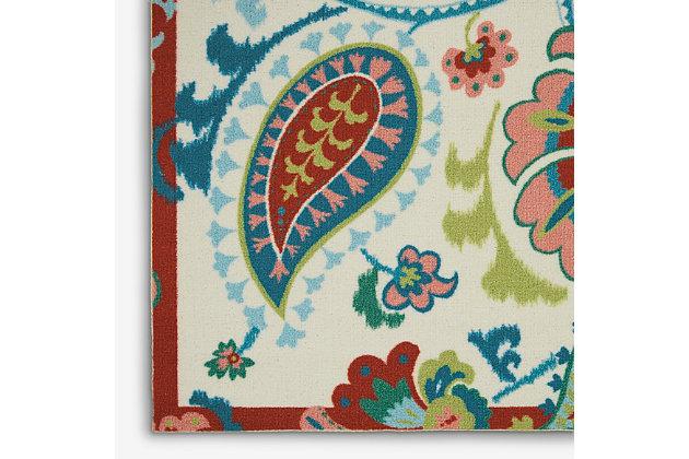 Nourison Waverly Sun N' Shade Multicolor 5'x8' Beach Area Rug, Ivory, large
