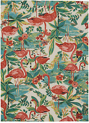 Nourison Waverly Sun N' Shade Multicolor 5'x8' Flamingo Area Rug, Multi, large