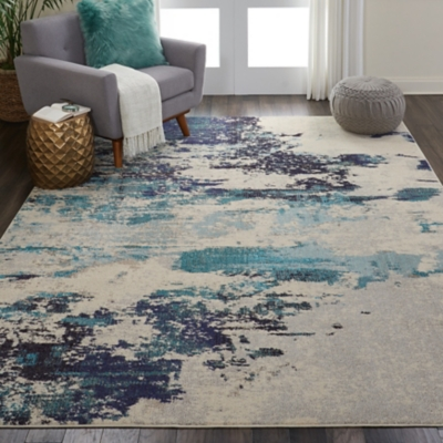 Nourison Celestial Blue And White 8'x11' Oversized Rug, Ivory/Teal Blue, large