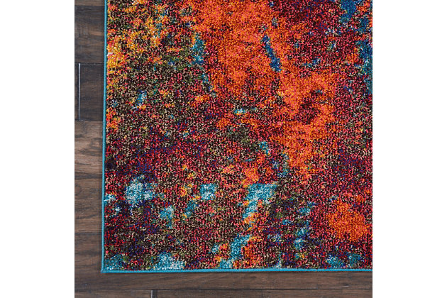 Nourison Celestial Blue And Red 7'x10' Large Rug, Atlantic, large