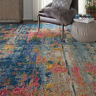 Nourison Celestial Blue Multicolor 7'x10' Rug, Blue/Yellow, large