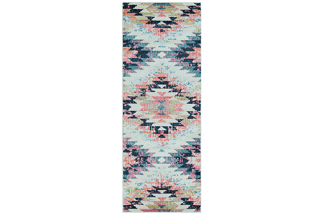 "Home Accents Anika 2' 7"" x 7' 6"" Runner, Blue, large"