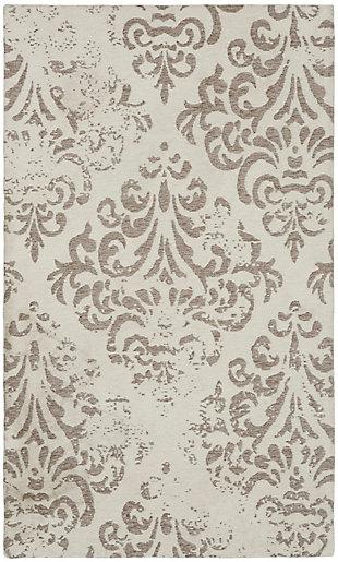 Nourison Damask 2' X 4' White Vintage Area Rug, Ivory, large