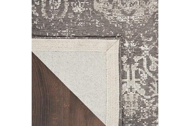 Nourison Damask 8' Runner Area Rug, Dark Gray, large
