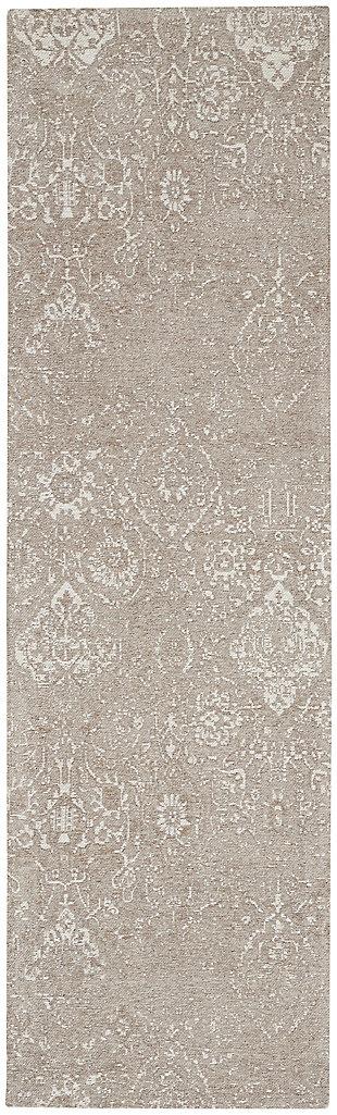 Nourison Damask 8' Runner Area Rug, Light Gray, large