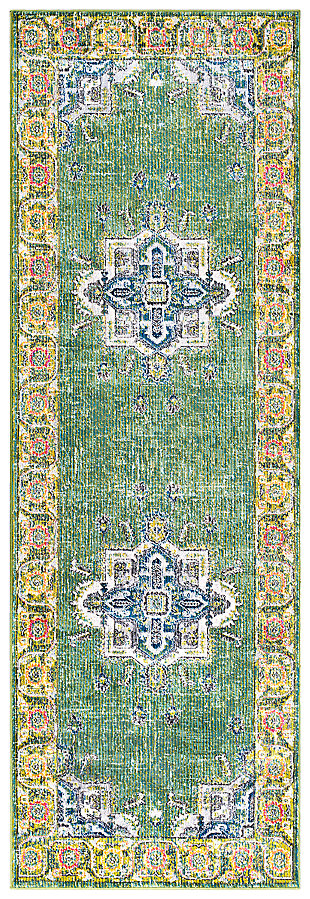 "Home Accents Aura silk 2' 7"" x 7' 6"" Runner, Green, large"