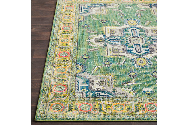 "Home Accents Aura silk 5' 3"" x 7' 6"" Area Rug, Green, large"