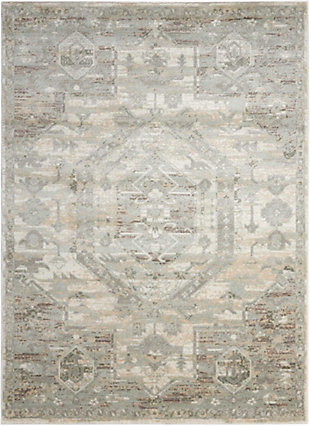 Nourison Euphoria White and Beige 5'x7' Area Rug, Ivory, large
