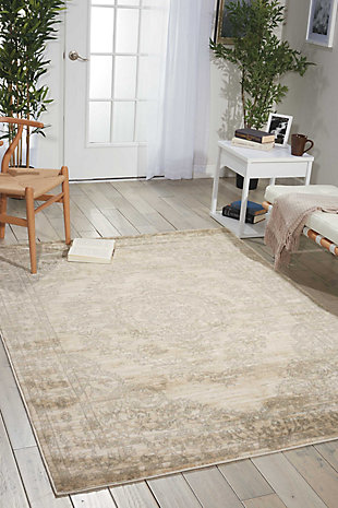 Nourison Euphoria White and Beige 5'x7' Area Rug, Bone, rollover