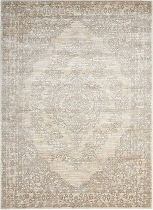Nourison Euphoria White and Beige 5'x7' Area Rug, Bone, large