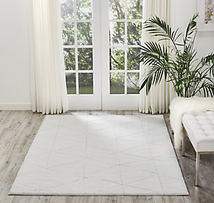 Nourison Home Ingenue White 5' x 7' Area Rug, Ivory, rollover