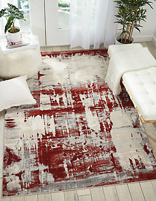 Nourison Maxell White and Red 5' x 7' Area Rug, Ivory/Red, rollover