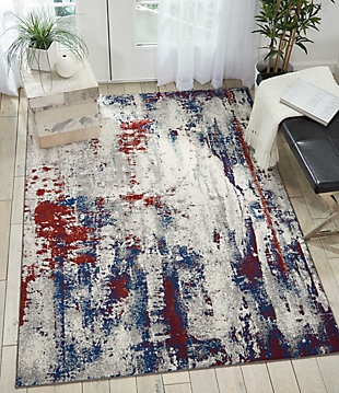 Nourison Maxell Red and Blue 5' x 7' Area Rug, Multi, rollover