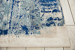 Nourison Maxell Blue and Ivory 5' x 7' Area Rug, Ivory/Blue, large