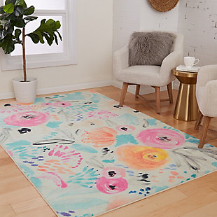 Mohawk Watercolor Floral Multi 5' x 8' Area Rug, Multi, rollover