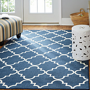 Mohawk Fancy Trellis Navy 5' x 7' Area Rug, Blue, rollover
