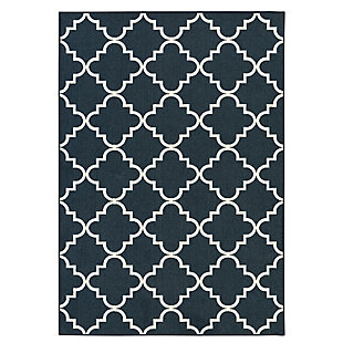 Mohawk Fancy Trellis Navy 5' x 7' Area Rug, Blue, large