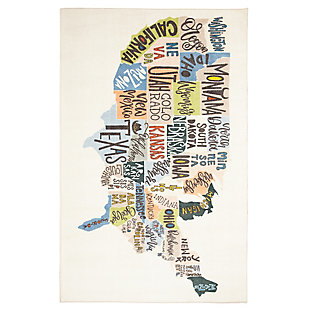 Mohawk States Map Multi 5' x 8' Area Rug, Multi, large