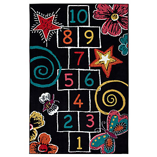 Mohawk Hopscotch Chalk Black 5' x 8' Area Rug, Black, large