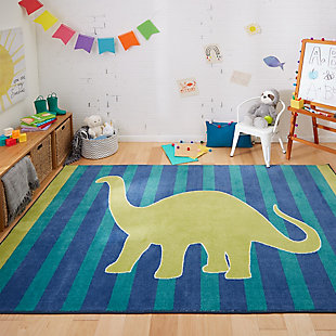 Mohawk Friendly Dinosaur Blue 5' x 8' Area Rug, Green, rollover