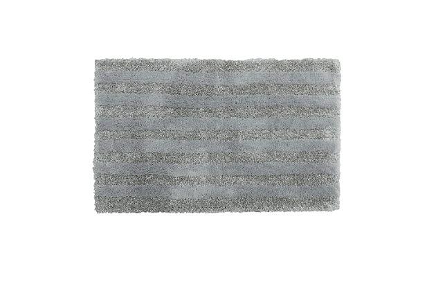 "Mohawk Basic Stripe Bath Rug Gray (1' 8""x2' 10""), Gray, large"