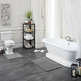 "Mohawk Basic Stripe Bath Rug Gray (2'x3' 4""), Gray, large"