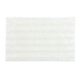 """Mohawk Basic Stripe Bath Rug Vanilla Ice (1' 8""""x2' 10""""), White, large"""