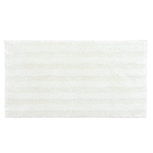"Mohawk Basic Stripe Bath Rug Vanilla Ice (2'x3' 4""), White, large"