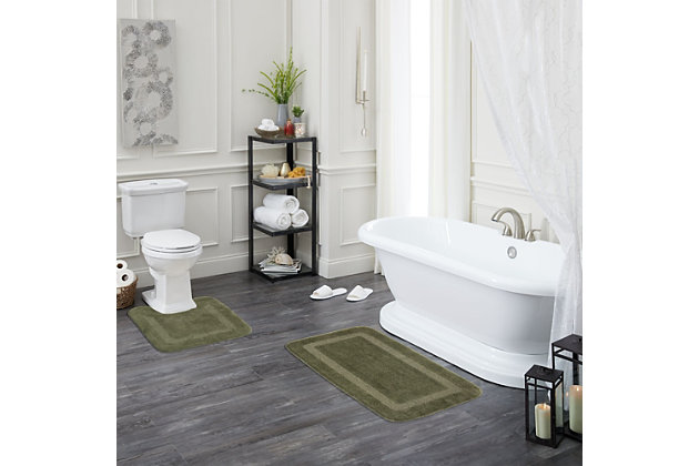 "Mohawk Facet Bath Rug Celadon (1' 8""x2' 10""), Green, large"