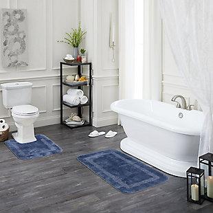 """Mohawk Facet Bath Rug Aqua (1' 8""""x2'), Blue, rollover"""