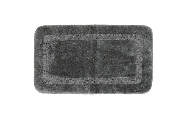"Mohawk Facet Bath Rug Gray (2'x3' 4""), Black/Gray, large"