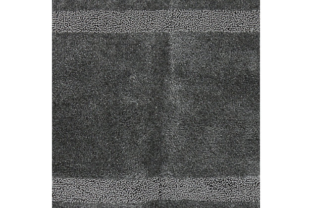 "Mohawk Facet Bath Rug Gray (1' 8""x2'), Black/Gray, large"
