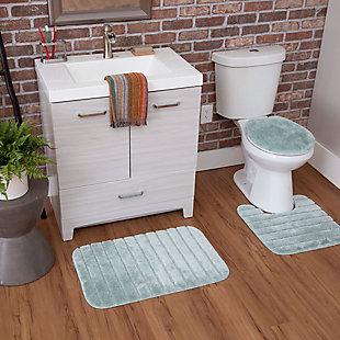 Mohawk Veranda Bath Rug Aqua Set (Set Contains: 20x30, 20x20 Contour and Toilet Lid Cover), Blue, large