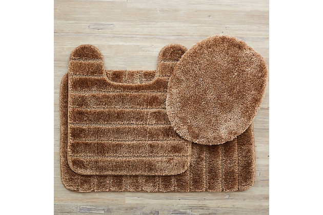 Mohawk Veranda Bath Rug Bark Set (Set Contains: 20x30, 20x20 Contour and Toilet Lid Cover), Brown/Beige, large