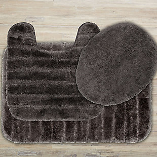 Mohawk Veranda Bath Rug Gray Set (Set Contains: 20x30, 20x20 Contour and Toilet Lid Cover), Gray, large