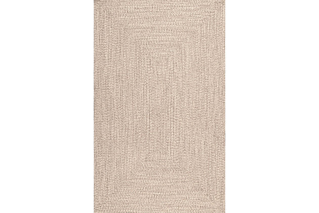 Nuloom Braided Lefebvre Indoor/Outdoor 5' x 8' Area Rug, Tan, large