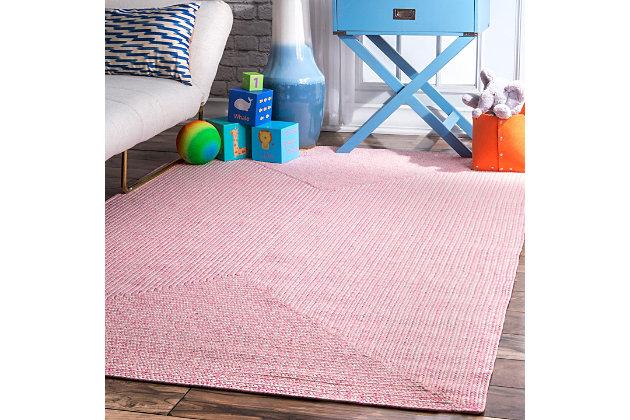 "Nuloom Braided Lefebvre Indoor/Outdoor 7' 6"" x 9' 6"" Area Rug, Pink, large"
